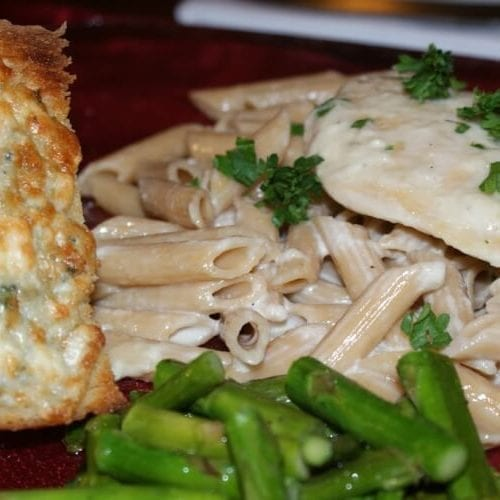 Creamy Fontina and Gorgonzola Chicken Penne