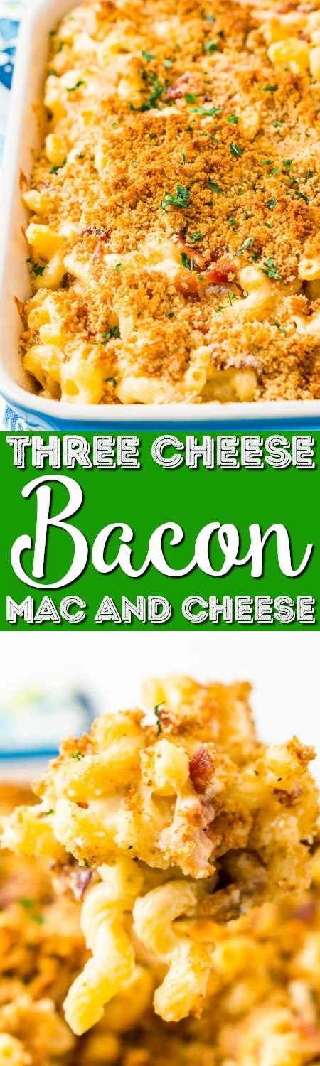 This Three Cheese Bacon Mac and Cheese is loaded up with crispy baked bacon and three different kinds of cheese, it's to die for!