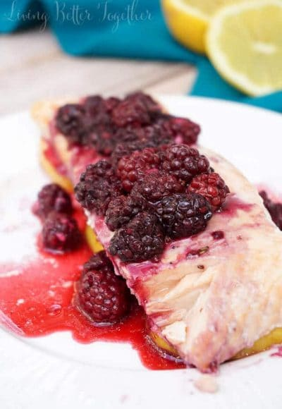 This gorgeous Blackberry Lemon Salmon is a light and flaky dinner recipe that's baked to perfection in just 30 minutes! It's loaded with protein and less than 500 calories per serving!