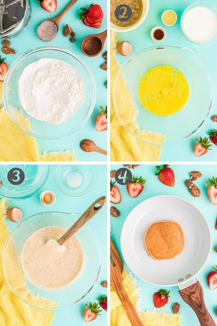 Step-by-step photo collage showing how to make banana pancakes.