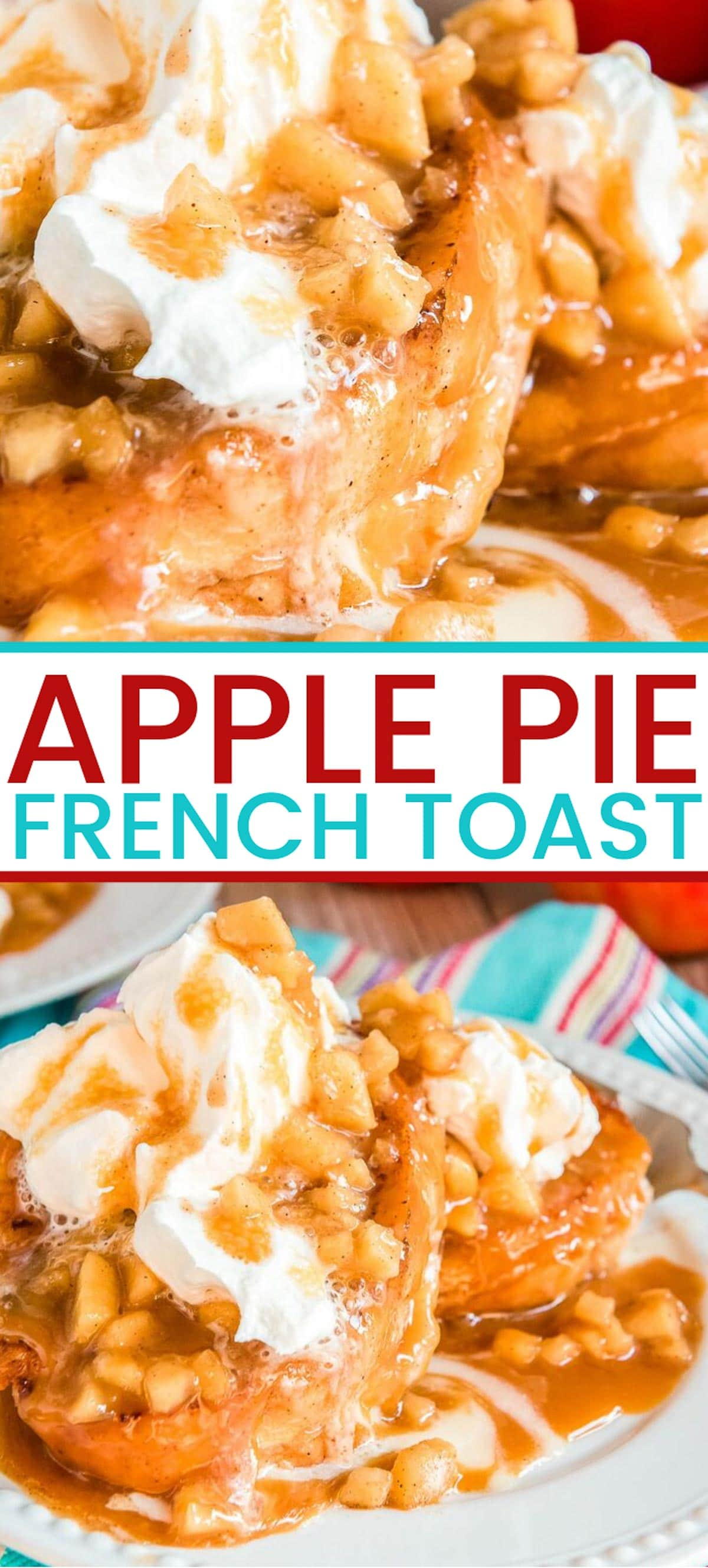 Apple French Toast is like dessert for breakfast, made with pan-grilled French bread that's stuffed with a luscious mixture of apple pie filling and creamy mascarpone. via @sugarandsoulco
