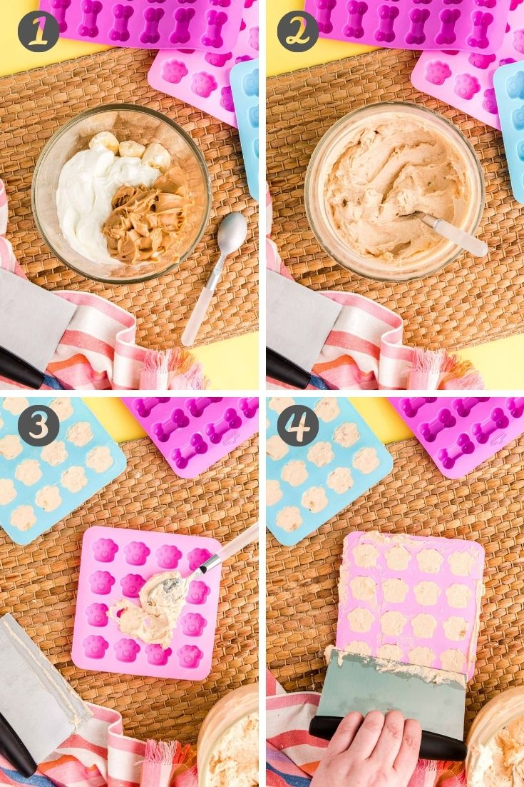 step-by-step photo collage showing how to make frozen dog treats.