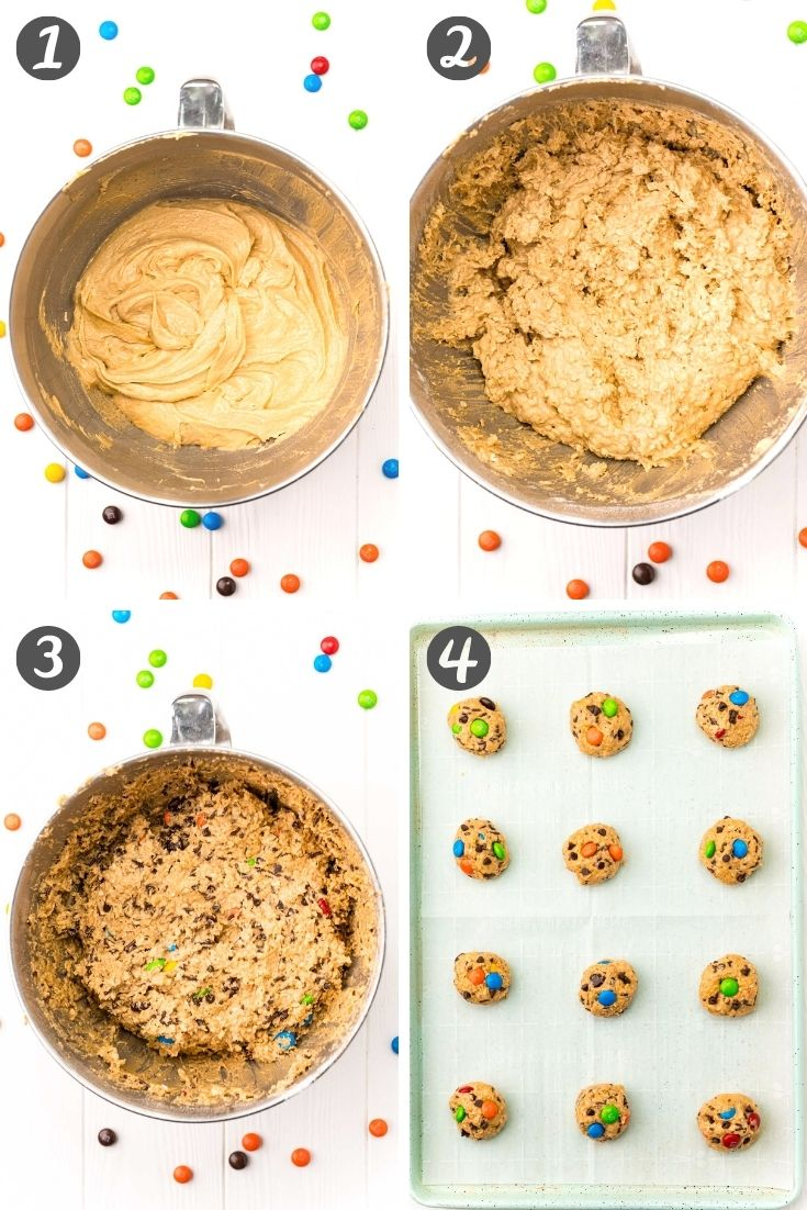 step-by-step collage showing how to make monster cookies from scratch.
