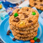 Close up photo of a stack of Monster cookies on a