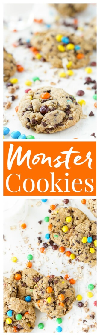 These Monster Cookiesare sweet and chewy with a little bit of everything in them! M&M's, Reese's Pieces, Chocolate Chips, Oatmeal, Coconut, Toffee, and Sprinkles. They're the ultimate cookie and the first batch is out of the oven in less than 30 minutes!