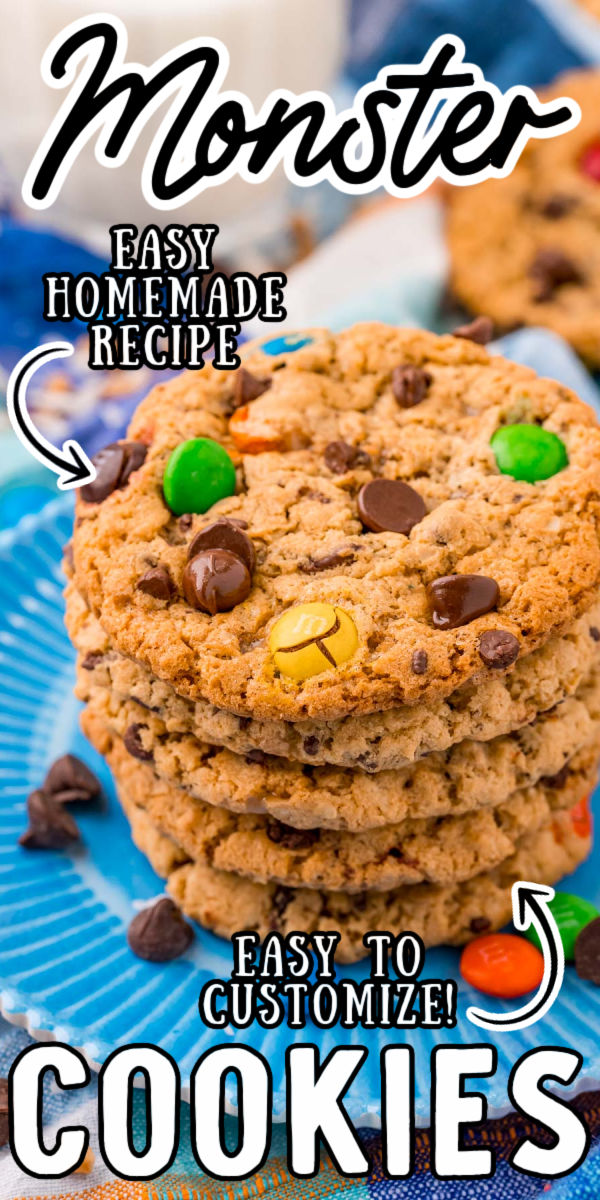 Monster Cookiesare sweet, chewy, and loaded with M&M's, Reese's Pieces, Chocolate Chips, Oatmeal, Coconut, and Heath Toffee Bits! Pull the first batch out of the oven in just under 25 minutes! via @sugarandsoulco