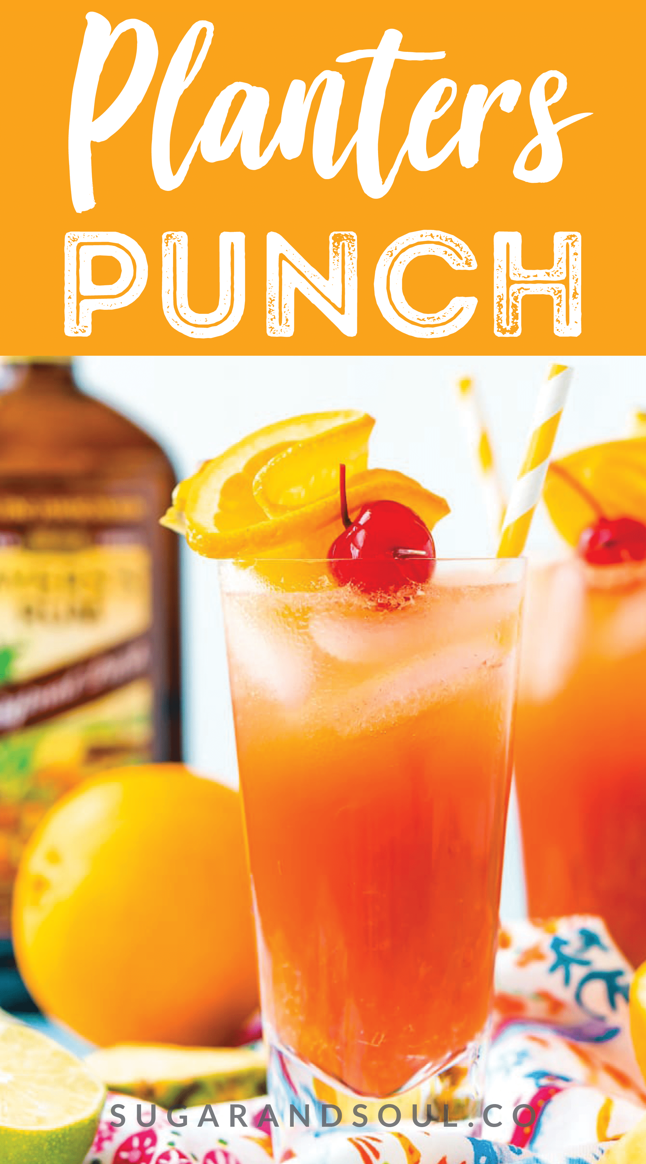 Planter's Punch is a fruity cocktail that's spiked with rum. Made with orange and pineapple juices, a splash of lime, grenadine, and dark or spiced rum, this tropical mixed drink is dangerously delicious! via @sugarandsoulco