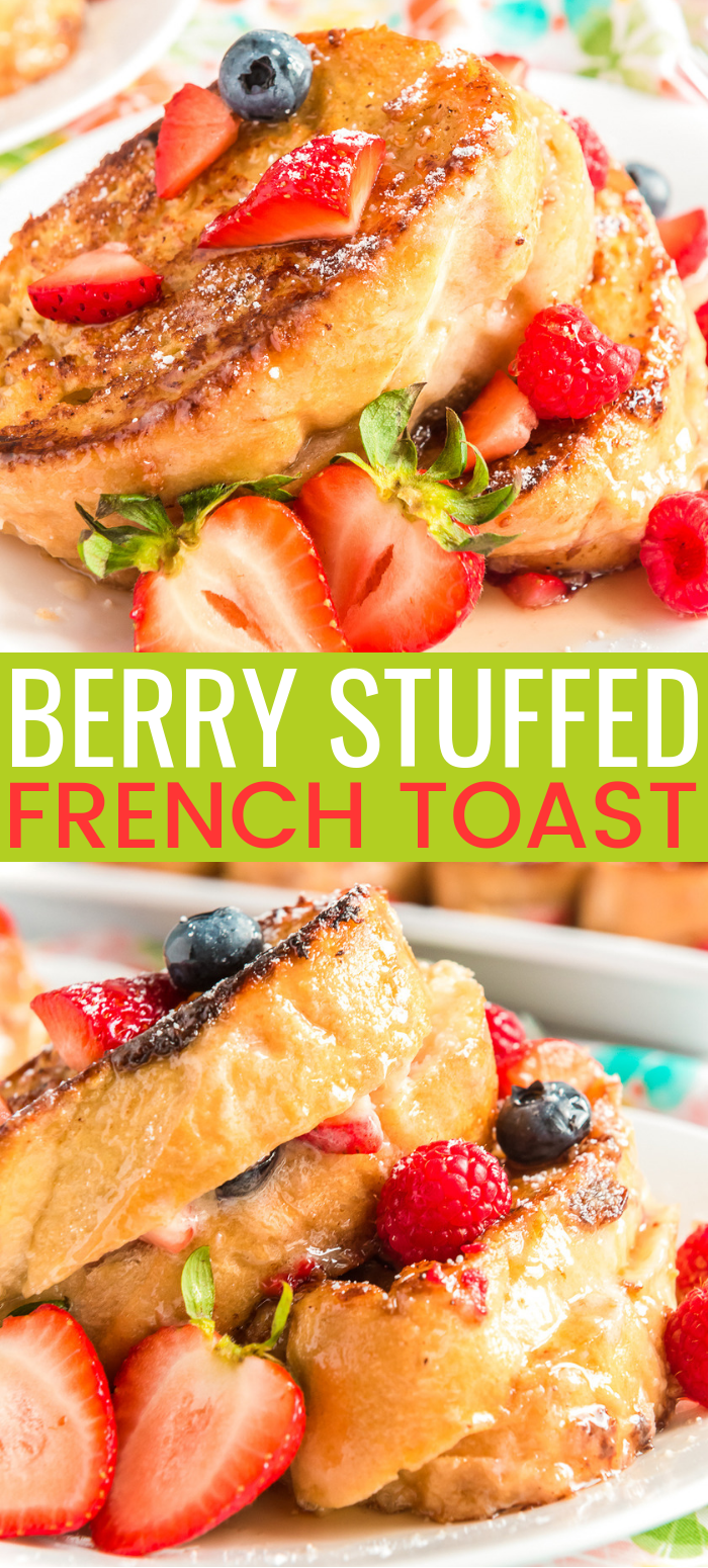 Berry Stuffed French Toast is a fruity, creamy, and indulgent breakfast recipe that combines macerated berries with a sweet mascarpone mixture and thick slices of French bread. via @sugarandsoulco