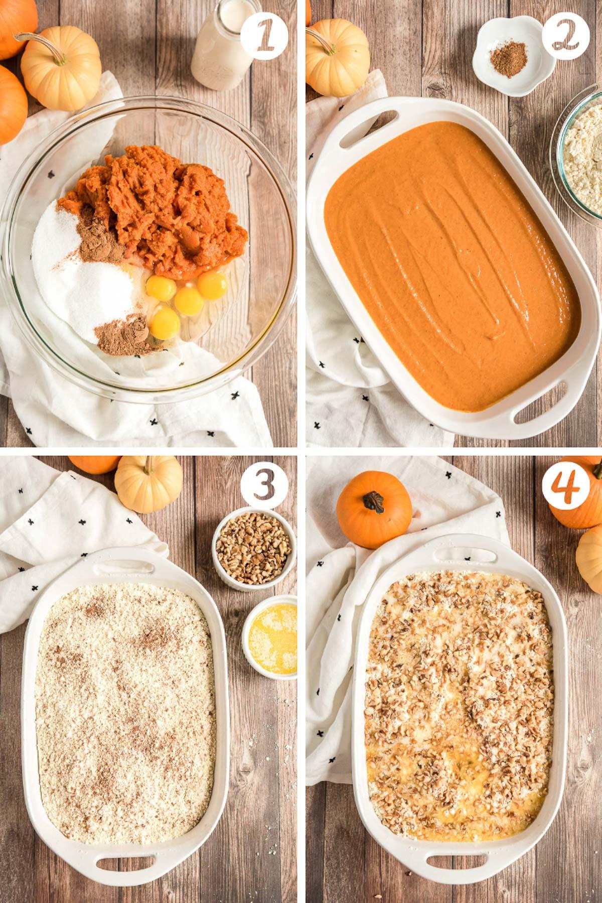 step-by-step photos of how to make pumpkin dump cake.