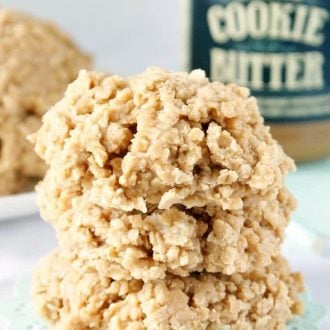 These Cookie Butter No Bake Cookies are a fun twist on the classic recipe we all grew up with! Made with delicious cookie spread, butter, sugar, and oatmeal!