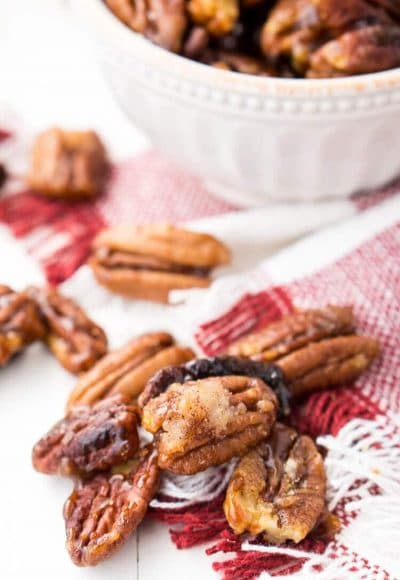 How To Candy Pecans - The Easy Way! These Candied Pecans are a delicious addition to any fall dish. They're perfect on sweet potatoes, pumpkin pies, they also make a lovely addition to salads and yogurt. Or, just eat them straight up!