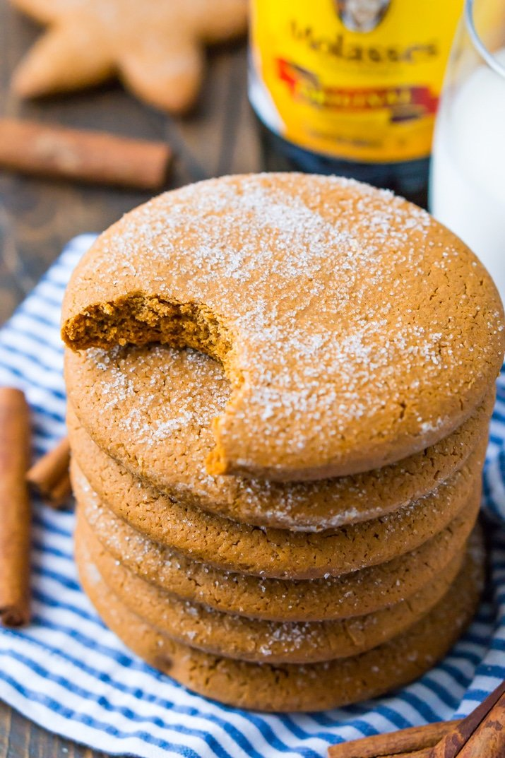 These soft Molasses Cookies are a simple and old-fashioned dessert recipe made with thick molasses, spices, and sugar. A classic cookies recipe that's actually dairy-free!