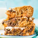 These Peanut Butter Fluff Blondies are a sweet and chewy dessert that's loaded with chocolate chips and Reese's pieces with a marshmallow swirl!