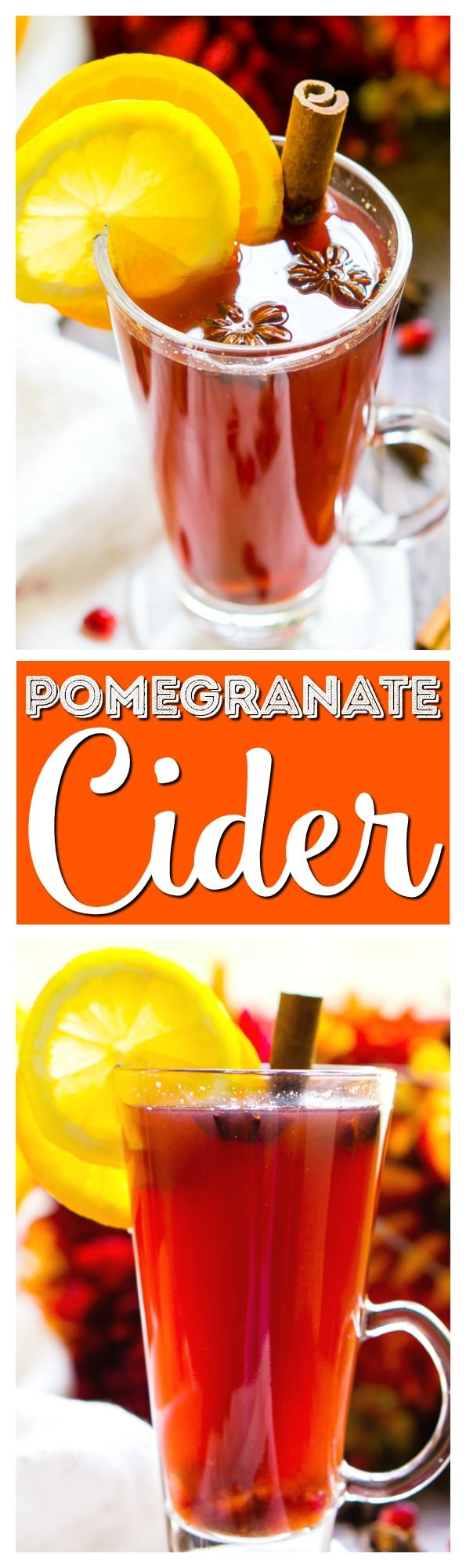 This Pomegranate Cider is an instant fall favorite! A cozy, hot drink that's loaded with spices, citrus, and delicious pomegranate. Add rum or whiskey to turn it into a cocktail! via @sugarandsoulco