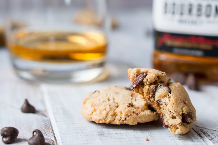 Bourbon Toffee Brown Butter Chocolate Chip Cookies are soft and chewy chocolate chip cookies laced with toffee, bourbon, and nutty brown butter accents.