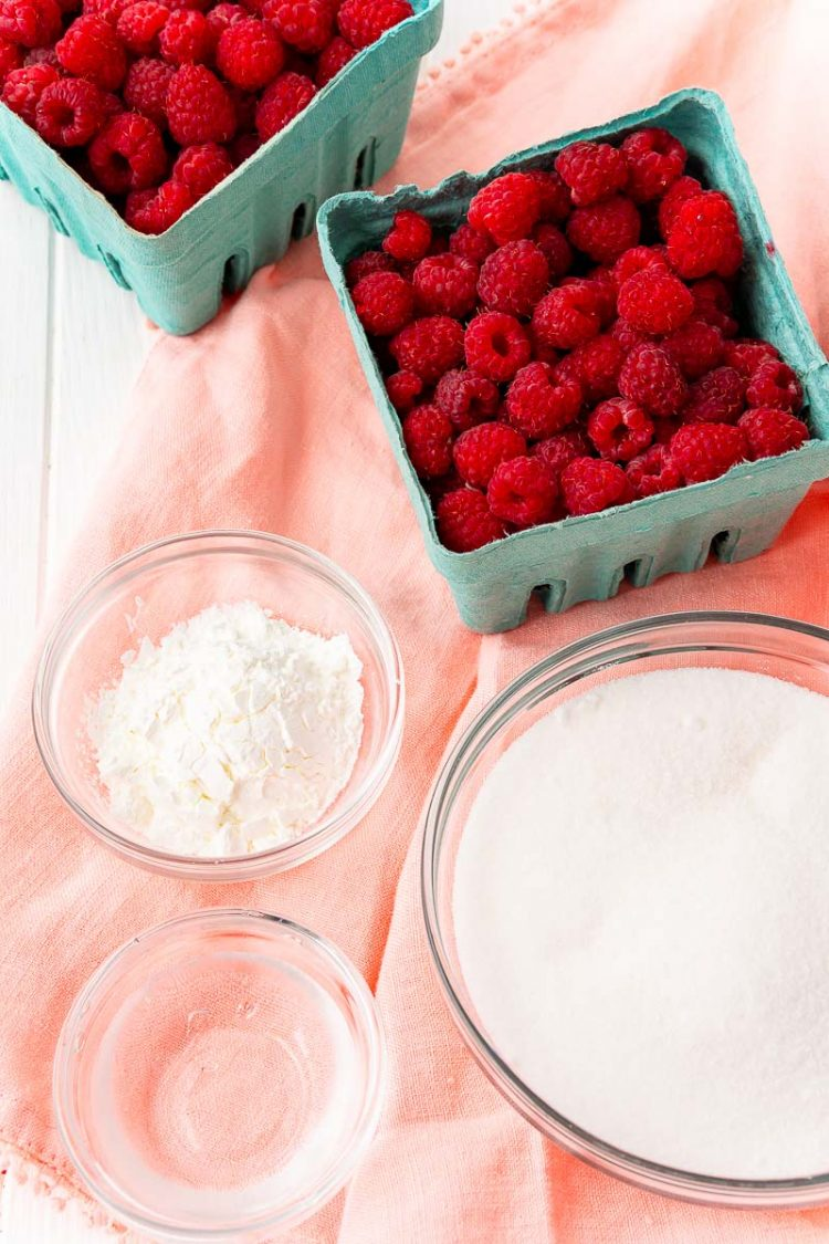 Ingredients to make raspberry filling.