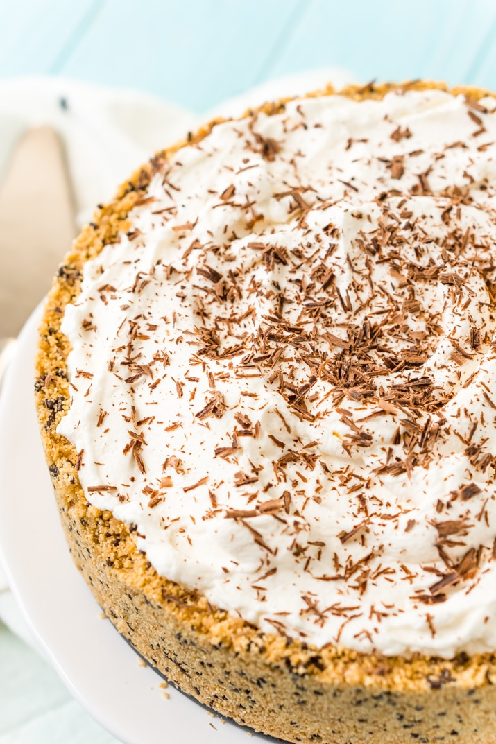 Banoffee Pie with whipped cream and chocolate shavings