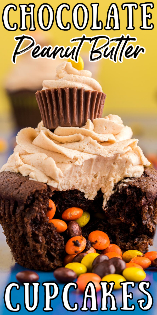 Chocolate Peanut Butter Cupcakes (With Surprise Filling) packs the center of rich and moist chocolate cupcakes with mini Reese's Pieces! This exciting treat is then finished off with the best homemade peanut butter frosting! via @sugarandsoulco