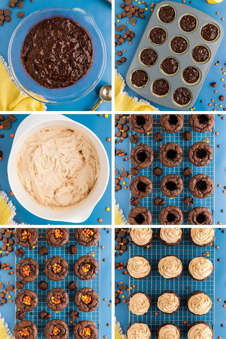 Step by step photo collage showing how to make chocolate peanut butter cupcakes filled with mini Reese's pieces.