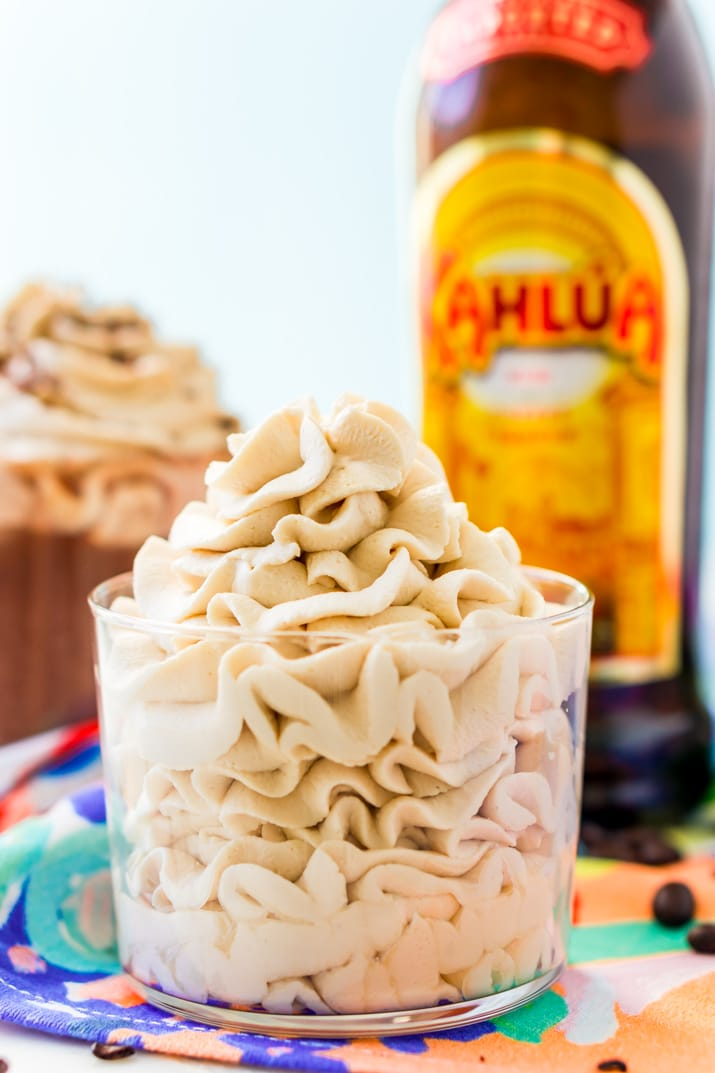 This Kahlua Whipped Cream recipe is perfect for topping hot chocolate, milkshakes, mudslides, and more! A delicious and fluffy whipped cream laced with coffee liqueur!