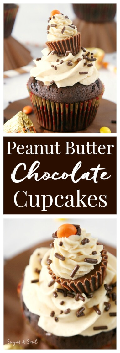 Surprise Chocolate Peanut Butter Cupcakes are moist dark chocolate cupcakes filled with a surprise and topped with silky peanut butter buttercream! via @sugarandsoulco