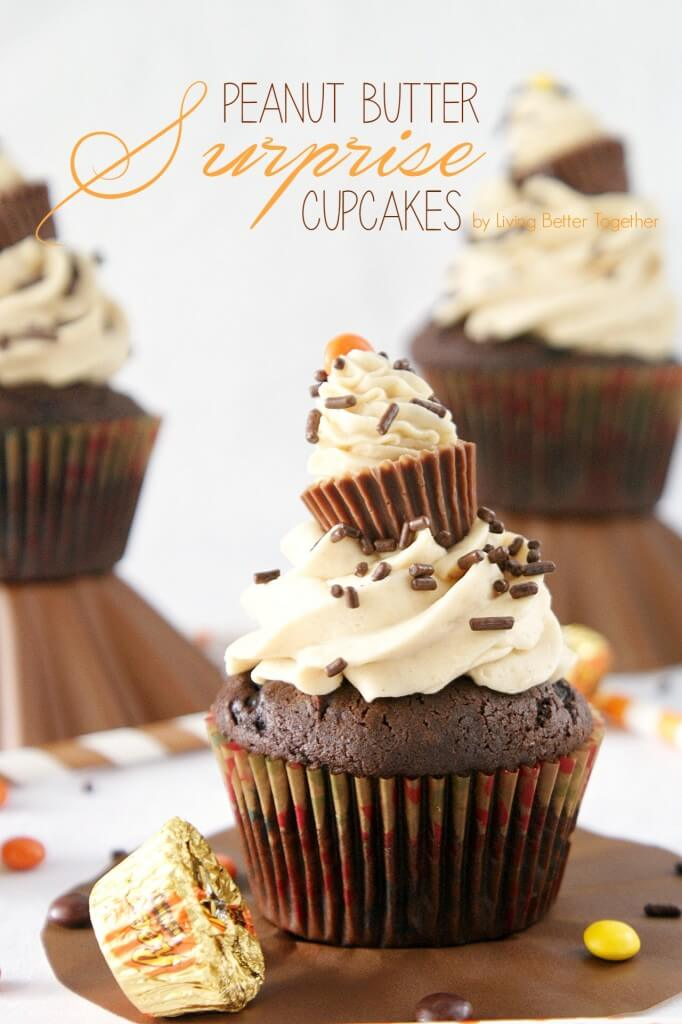 Surprise Chocolate Peanut Butter Cupcakes are moist dark chocolate cupcakes filled with a surprise and topped with silky peanut butter buttercream!