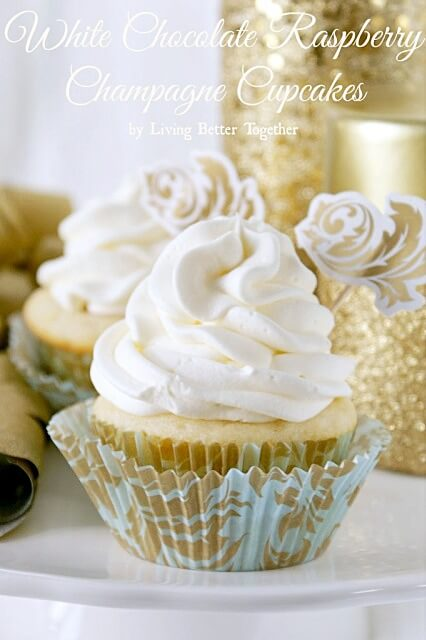 White Chocolate Raspberry Champagne Cupcakes