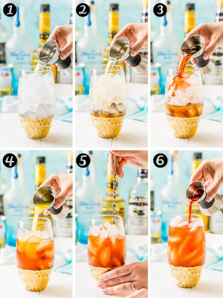Step-by-step photo collage of a rum runner cocktail being mixed.