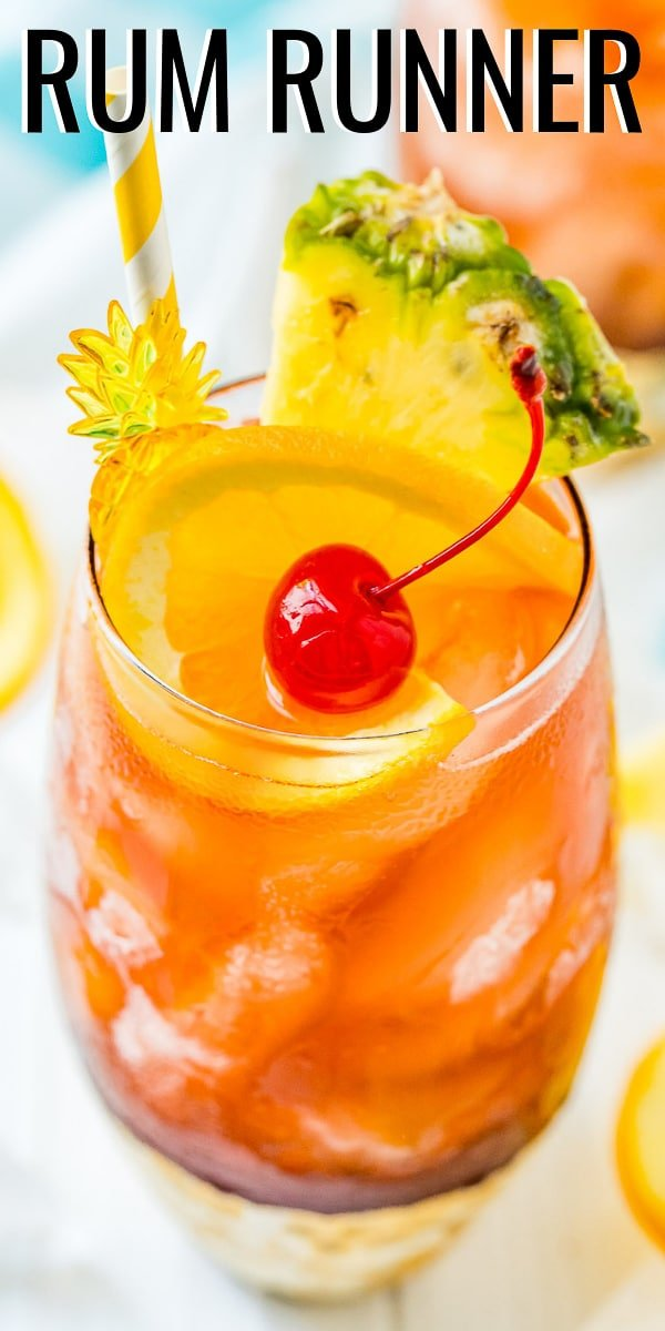 This Rum Runner Cocktail is a fruity and refreshing cocktail made with banana, blackberry, orange, and pineapple flavors! via @sugarandsoulco