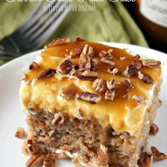 This Sea Salt Caramel Carrot Cake Poke Cake is so sweet and delicious, you'll never want any other carrot cake again! Baked to perfection and saturated in sweetened condensed milk, then topped with a fluffy frosting and drenched in caramel sauce.