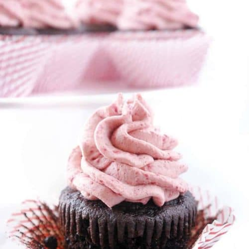 Dark Chocolate Cupcakes with Raspberry Vanilla Creme