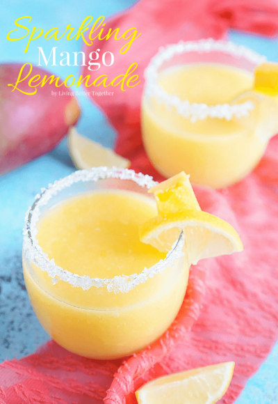 This Sparkling Mango Lemonade is a refreshing and delightful sparkling pulpy lemonade made with mangoes and agave.