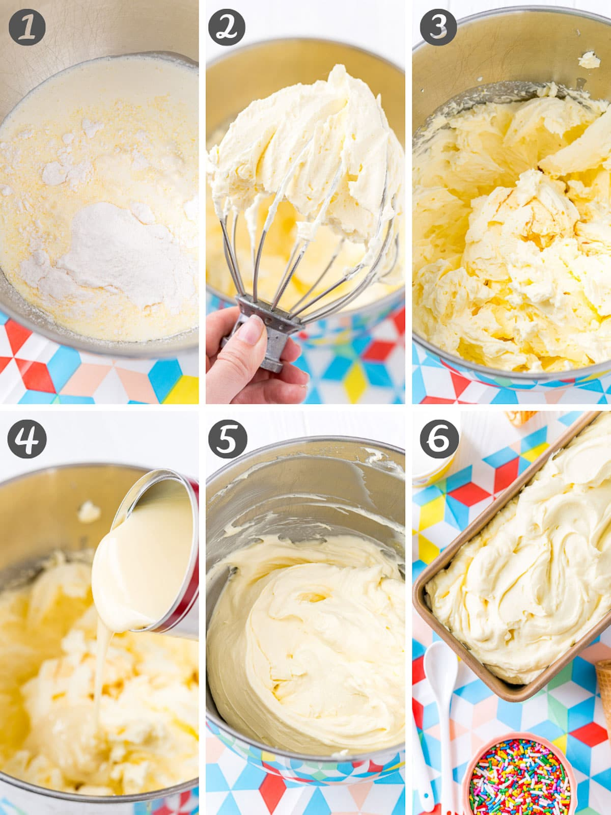 Collage of step-by-step photos for how to make vanilla ice cream without an ice cream machine.