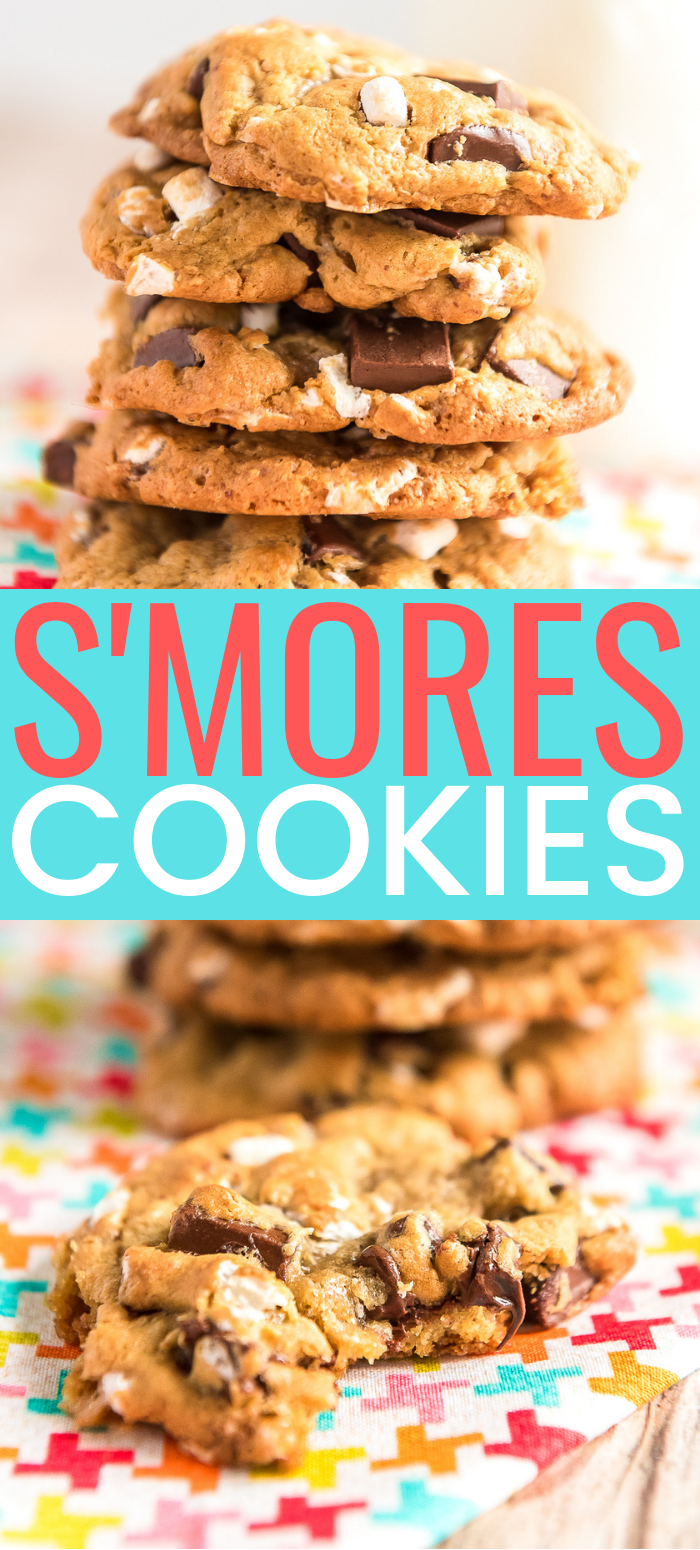 S'mores Cookies combine the flavors of marshmallows, chocolate, and graham crackers for a deliciously sweet cookie reminiscent of the classic summer treat! via @sugarandsoulco
