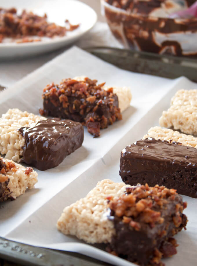 Candied Bacon and Chocolate Dipped Rice Crispy Treats - An easy no-bake dessert recipe