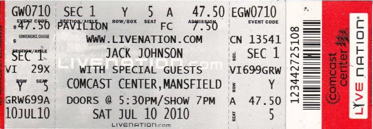 MLS 7-10 - Jack Johnson Ticket