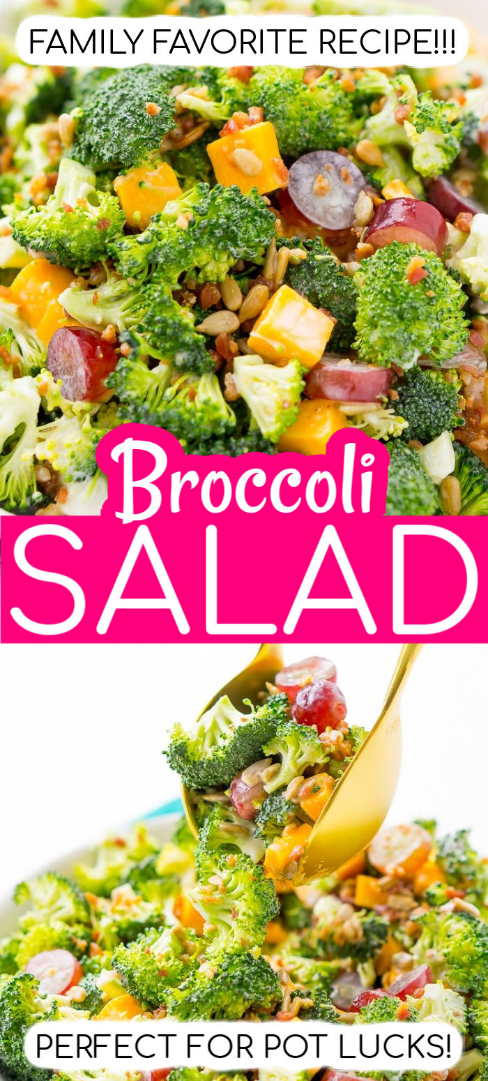 This Broccoli Salad is an easy, crunchy, and lightly sweetened side salad that's perfect for BBQs and more! Made with fresh broccoli, grapes, cheese, sunflower seeds, bacon, and a delightful dressing! via @sugarandsoulco