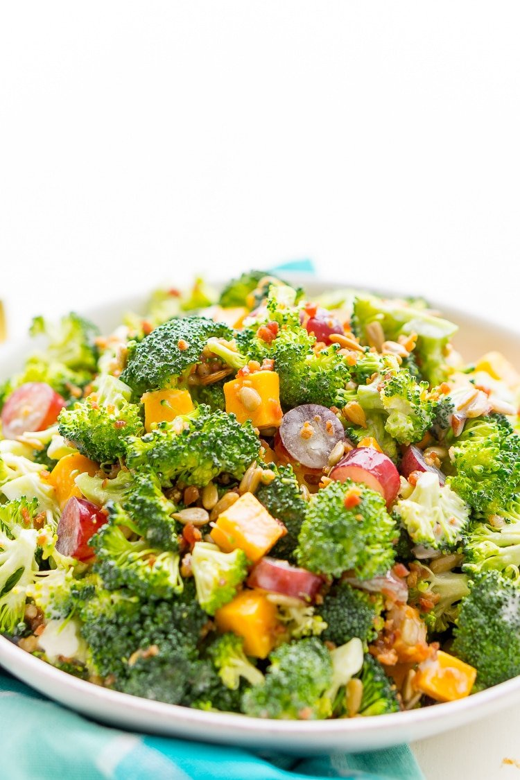 Broccoli Salad recipe with cheese, grapes, sunflowers seeds, and bacon