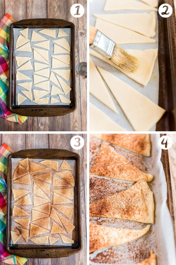 Step-by-step photo collage showing how to make cinnamon sugar pie chips.