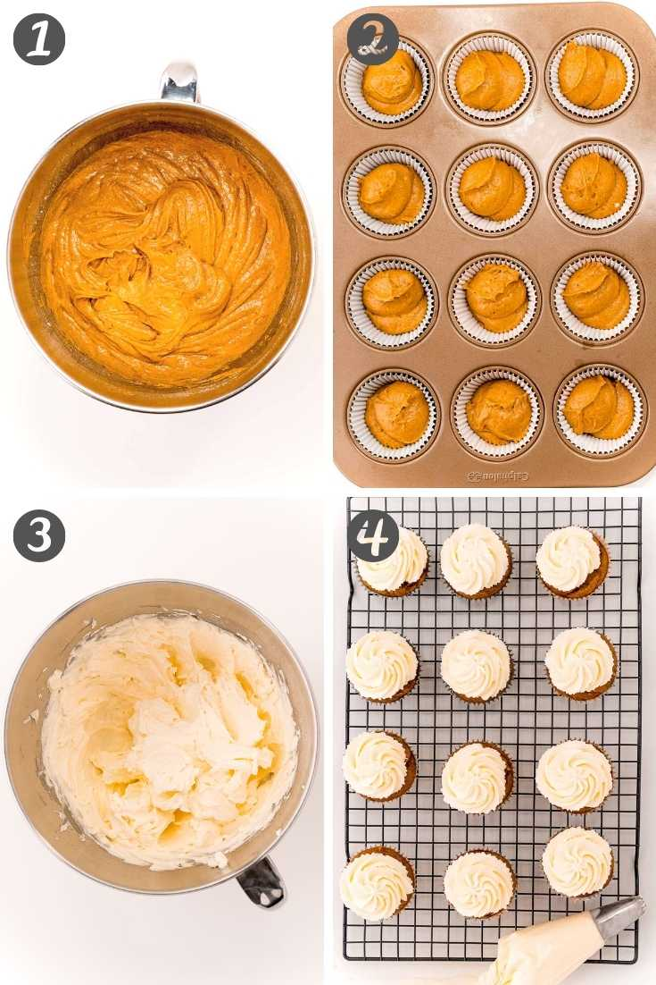 Step-by-step photo collage showing how to make pumpkin cupcakes.