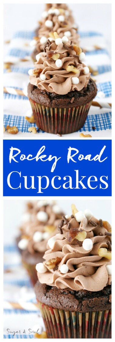 Inspired by the famous Ice Cream, these Rocky Road Cupcakes are loaded with chocolate, walnuts, and marshmallows!
