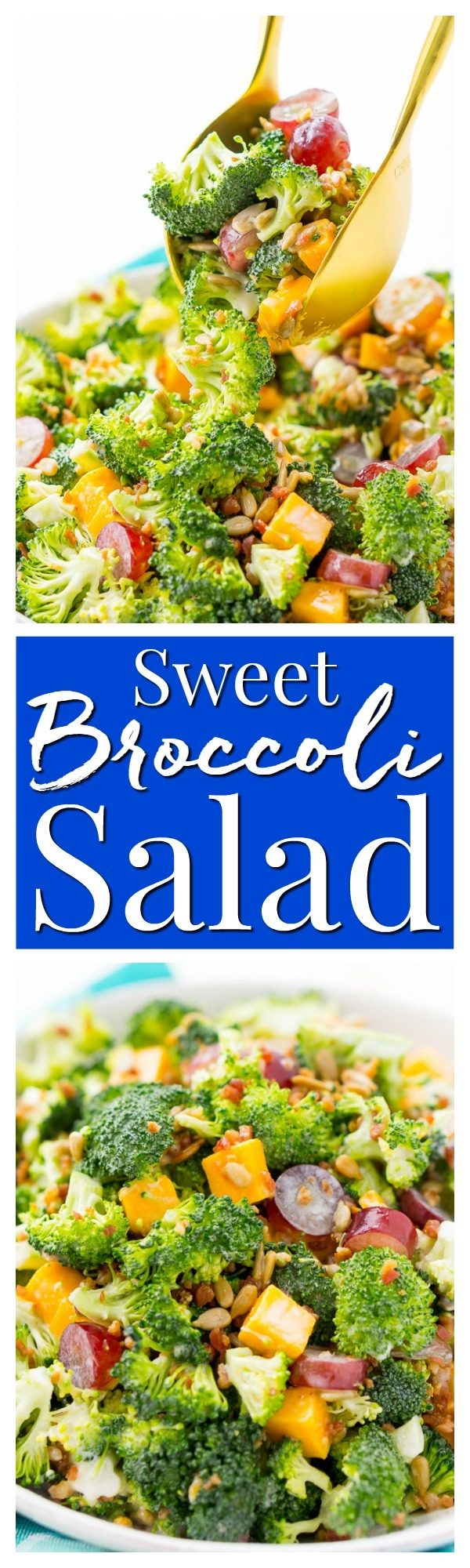 This Sweet Broccoli Salad is an easy,crunchy, and lightly sweetened side salad that's perfect for BBQs and more! Made with fresh broccoli, grapes, cheese, sunflower seeds, bacon, and a delightful dressing!