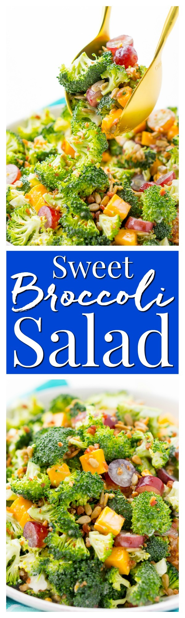 This Sweet Broccoli Salad is an easy, crunchy, and lightly sweetened side salad that's perfect for BBQs and more! Made with fresh broccoli, grapes, cheese, sunflower seeds, bacon, and a delightful dressing! Bring it to all your summer get-togethers! via @sugarandsoulco
