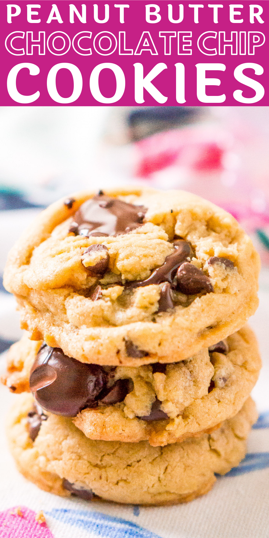 These Peanut Butter Chocolate Chip Cookies are soft and chewy and loaded with sweet, delicious flavors the whole family will love!