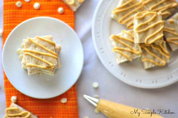 Spiced White Chocolate Bars with Pumpkin Frosting