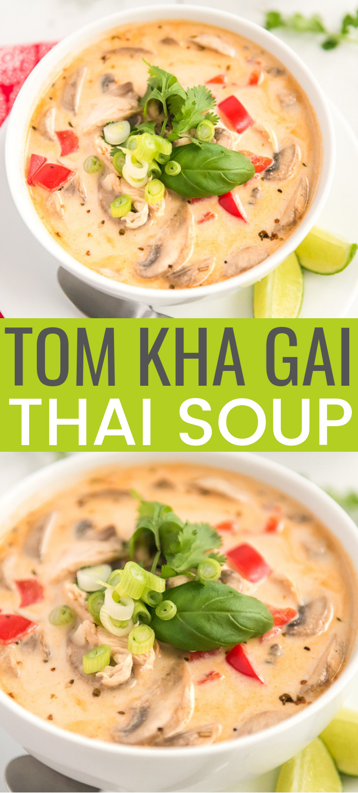 This Tom Kha Gai Soup recipe, also known as Chicken Coconut Soup, is an incredibly aromatic and flavorful Thai dish made with chicken, mushrooms, peppers, in a creamy coconut broth. via @sugarandsoulco
