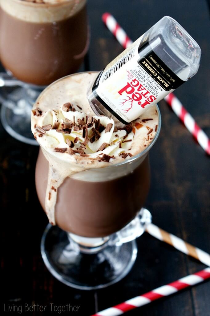 Black Cherry Bourbon Hot Chocolate - Rich hot chocolate with sweet homemade whipped cream and a kick of black cherry bourbon! Living Better Together