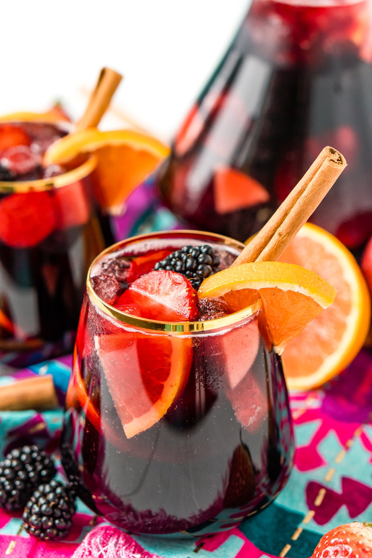 Close up photo of a glass of sangria made with red wine.