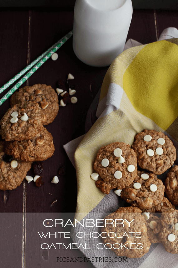 Cranberry White Chocolate Oatmeal Cookies - the addition of the white chocolate and dried cranberries makes these oatmeal cookies even better.