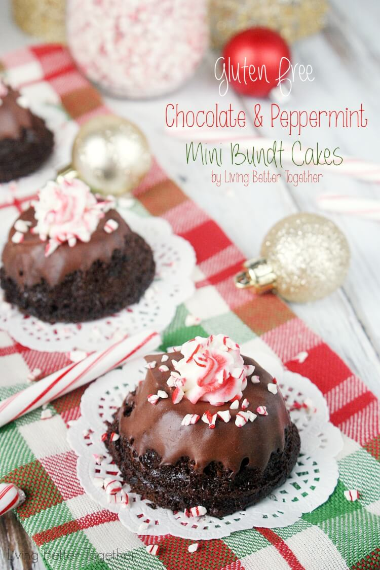 These Gluten Free Chocolate & Peppermint Mini Bundt Cakes are down ...